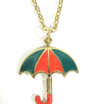 Umbrella Necklace Red Blue Parasol Vintage Charm Pendant ND24 Fashion Jewelry