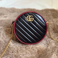 HCXX 19Aug 923 Gucci 550154 Embossing Duoble G Logo Leather Chain Canteen Bag Fashion Minaudiere Bag 18-18-5cm