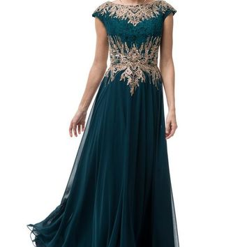 Short Sleeve Teal Gold Long Evening Dress