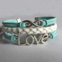 Infinity Bracelet - mint bracelet with infinity symbol, love bracelet for girls and boys, anniversary gifts