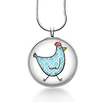 Chicken Pendant Necklace - Bird Pendant - Hen - Fashion Jewelry - Gifts for Women