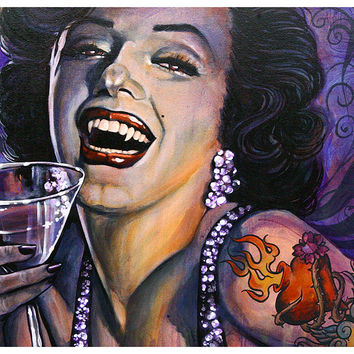 Marilyn Noir Art Print by Artist Mike Bell