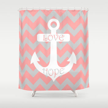 Curtains Ideas coral chevron shower curtain : Shop Gray Chevron Shower Curtain on Wanelo