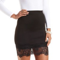 Lace Trim Pencil Skirt by Charlotte Russe - Black