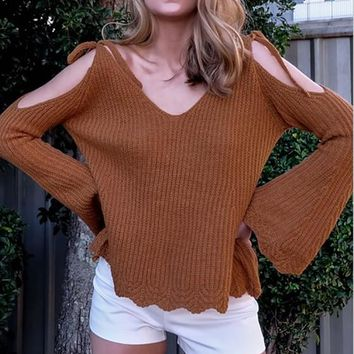 Khaki V-neck Cut Out Off Shoulder Wavy Edge Fashion Pullover Sweater