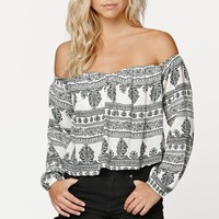 LA Hearts Open Hem Off-The-Shoulder Top - Womens Shirts