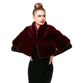 VINO VERITAS FAUX FUR CAPELET: Betsey Johnson