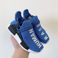 Pharrell x adidas NMD Human Race Blue Black Toddler Kid Shoes Child Sneakers - Best Deal Online
