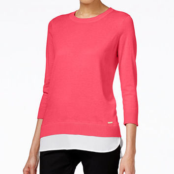Calvin Klein Layered-Look Three-Quarter-Sleeve Sweater - Sweaters - Women - Macy's