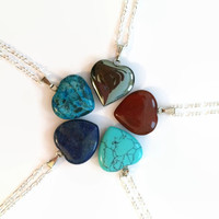 Gemstone heart necklace Turquoise Hematite Jasper gemstone heart pendant Chakra necklace healing necklace reiki necklace girlfriend necklace
