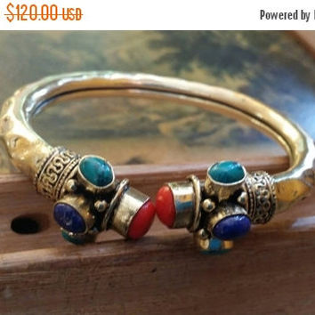 80% OFF SALE Red Coral Cuff Bracelet Lapis Lazuli  Bangle Turquoise  Gemstone Adjustable Solid Golden Brass