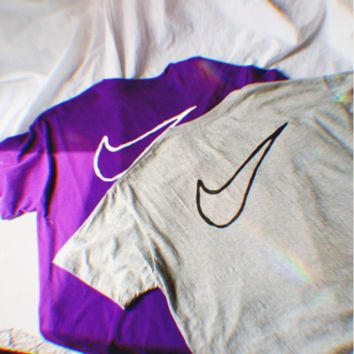 NIKE Small Hook&Big Hook Loose Print On The T-shirt B104524-1 Purple