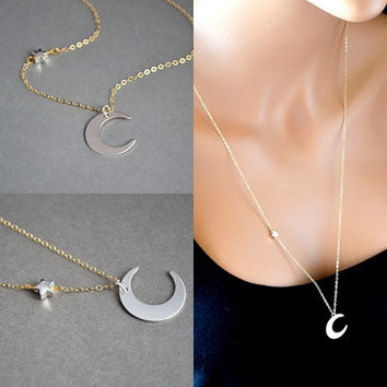 Gold Moon Star Necklace, Extra Long Chain, Mixed Metal Jewelry, Crescent Moon Necklace, 14k Gold and Sterling Silver Necklace