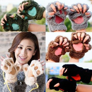 NEW Fashion Arrivals Women Ladies Lovely Fur Gloves Plush Fingerless Cat Claw Paw Mittens Winter Warm