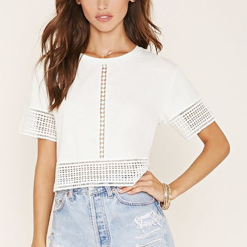 Crochet-Paneled Boxy Top | Forever 21 - 2000170372