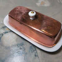 Copper Butter Dish Covered Butter Dish Holiday Table Butter Plate Butter Caddy
