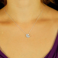 Moon and star puffy silver necklace, crescent, tinny moon star necklace, silver moon star necklace, small charm necklace, silver moon star