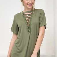 Army Lace Up Top