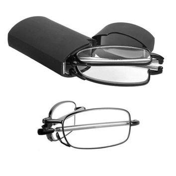 MINI Design Reading Glasses Men Women Small Folding Glasses Frame Black Metal Glasses With Original Box