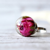 Sterling Silver Rose Ring - Pink Rose Statement Ring - Real Rosebud Resin Ring - Resin Jewelry