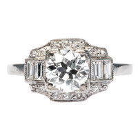 Art Deco .94 Carat Diamond Engagement Ring