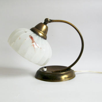 RARE Midcentury Art Deco Lamp. Small Bedside/Table Lamp with Marbled Glass Lampshade, Brass base #vintage#artdeco#midcentury#lamp