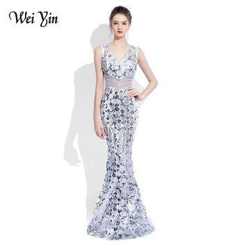 WEIYIN 2018 Luxury V Neck Mermaid Tulle Evening Dresses Crystal Sequin Zipper Long Evening Gowns Party Prom Dresses WEIYIN483