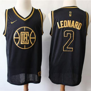 Los Angeles Clippers 2 Kawhi Leonard Black/Gold Limited Jersey