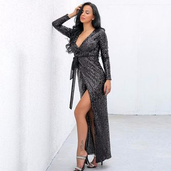 Sequined Maxi Wrap dress