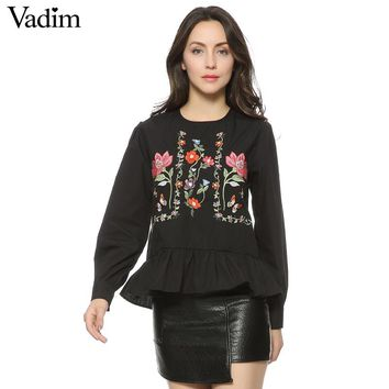 Women vintage flower embroidery shirts long sleeve ruffles pleated o neck blouse