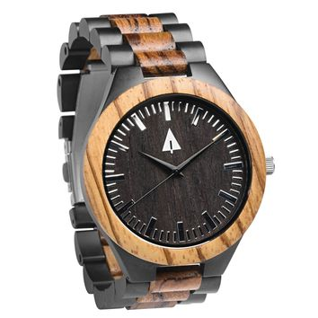 Stainless Steel Wood Watch // Black August