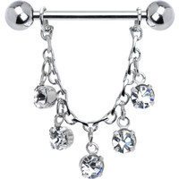 Clear Jeweled Essence Chain Drop Nipple Ring | Body Candy Body Jewelry