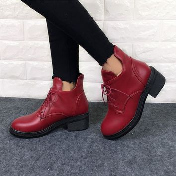 New Fashion Women's Lace Up Combat Punk Ankle Martin Boots Female Shoes Autumn Winter Hot Sell Women Snow Boots plus size 34-43