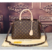 LV Louis Vuitton Hot Sale Women Shopping Bag Leather Tote Handbag Satchel Bag Coffee LV Print