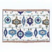 Retro Christmas, Blue and White Throw Blanket