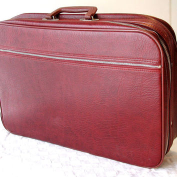 Merlot Suitcase by Peters Bag Corp Vintage Red Travel Bag Weekender