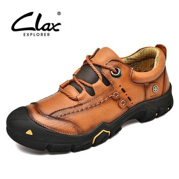 CLAX Mens Work Shoes Genuine Leather Ankle Boots Male safety Shoe Casual Footwear Leather Shoe Soft chaussure homme Plus Size