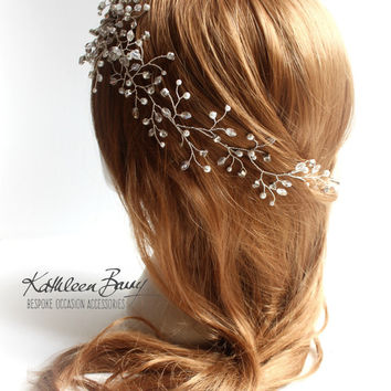 R1300 Mich Hairpiece hair vine  - Wedding head piece - Crystal & Pearl, wedding hair accessory, Bridal hair accessories