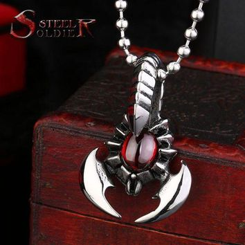 DCCKU62 steel soldier new arrival men stainless steel red stone scorpion pendant fashion personality necklace pendant men charm jewelry