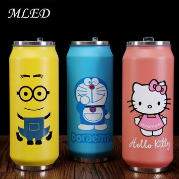 2016 Creative stainless Steel Thermos Cup Mini Bottle Vacuum Flask Straw Coffee Thermal Thermoses  Cans Cups Thermocup Mug 300ML