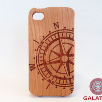 "Eco friendly iPhone 4 Case ""Compass"" (Cherry Wood) - wooden iphone case,iphone 4 case,iphone case wood,case wooden iphone,iphone wooden case"