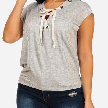 Grey Sleeveless Lace Up Stretchy Top