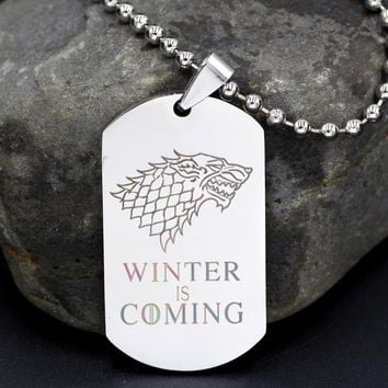 Game of Thrones Winter is Coming Stainless Steel Military Pendant Jewellery House Stark Direwolf Medallion Wolf Necklace