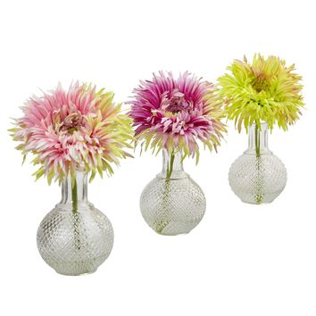 Artificial Flowers -Daisy With Glass Vase -Set Of 3 Arrangement Silk Flowers