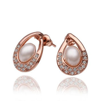 18K Rose Gold Acorn Shaped Stud Earrings with Jewels Covering Made with Swarovksi Elements