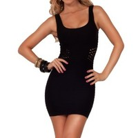 Seamless Bodycon Bandage Fitted Stretchy Laser Cut Sleeveless Short Mini Dress