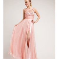 Blush Satin & Sequin Filigree Gown Prom 2015