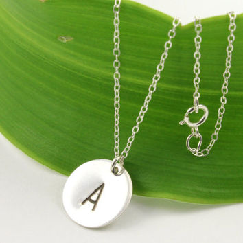 Initial Necklace in Sterling Silver - Monogram Simple Necklace - Custom Personalized Jewelry
