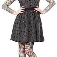 Sourpuss Spider Black Widow Gray Swing Dress