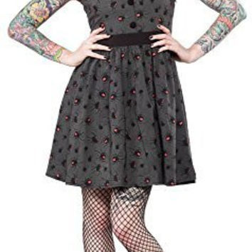 Sourpuss Spider Black Widow Gray Swing June Dress